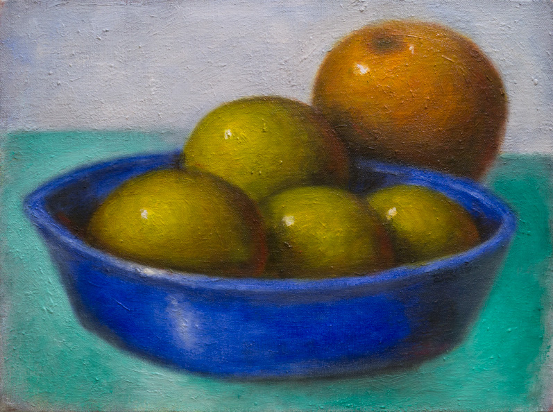Lemons, Orange and Blue Bowl