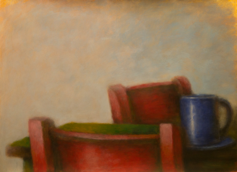 Red Chairs, Blue Mug