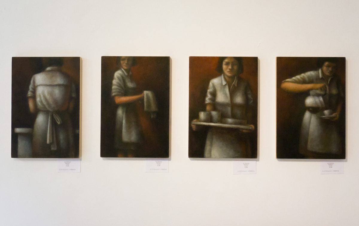 Four Waitress Paintings at Gallery Different, London