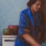 Woman in Blue Placing Cup